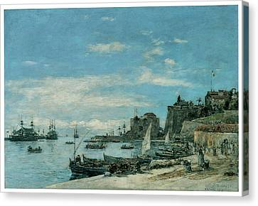 Quay At Villefranche Canvas Print by Eugene Boudin