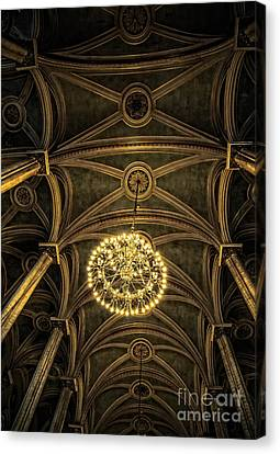 Hdr Look Canvas Print - Quebec City Canada Ornate Grand Hall Or Church Ceiling by Edward Fielding
