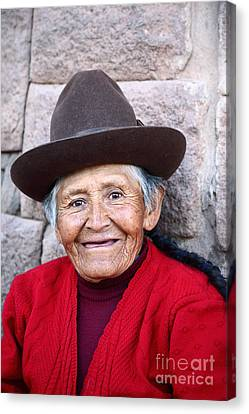 Toothless Canvas Print - Quechua Lady In Cusco by James Brunker
