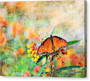 Queen Butterfly In Pastel Canvas Print