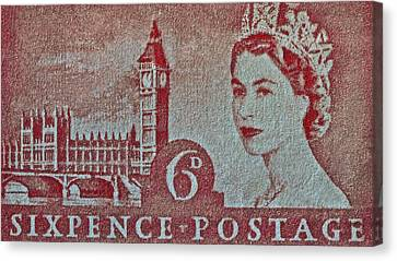Queen Elizabeth II Big Ben Stamp Canvas Print
