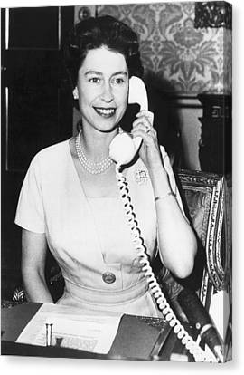 Queen Elizabeth On The Phone Canvas Print by Underwood Archives