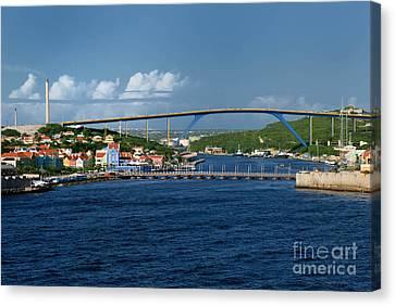 Queen Juliana Bridge  Queen Emma Bridge Curacao Canvas Print by Amy Cicconi