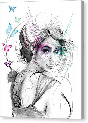 Woman Drawings Drawings Canvas Print - Queen Of Butterflies by Olga Shvartsur