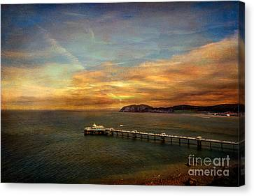 Textured Landscape Canvas Print - Queen Of The Welsh Resorts by Adrian Evans