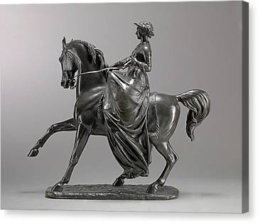 Queen Victoria On Horseback Incised On Front Edge Art,- Canvas Print by Litz Collection