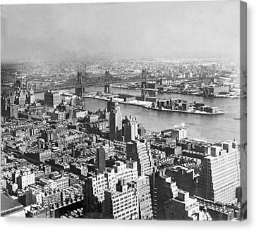 City Of Bridges Canvas Print - Queensboro And Welfare Island by Underwood Archives
