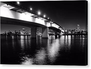Landscape. Of City At Night And A Bridge Canvas Print - Queensway Bridge by Jenny Hudson