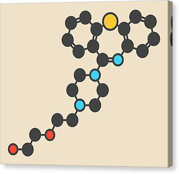 Quetiapine Antipsychotic Drug Molecule Canvas Print by Molekuul