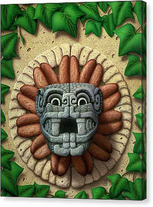 Canvas Print featuring the painting Quetzalcoatl by WB Johnston