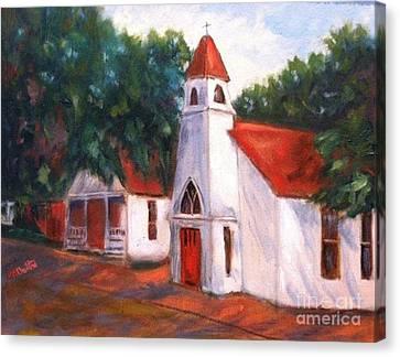 Canvas Print featuring the painting Quiant Arkansas Church by Marcia Dutton