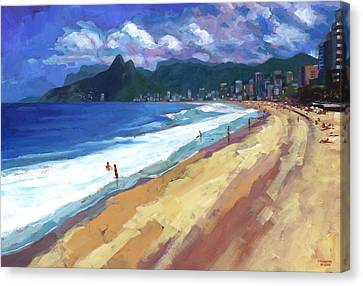 Quiet Day At Ipanema Beach Canvas Print by Douglas Simonson