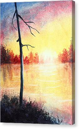 Quiet Evening By The River Canvas Print by Nirdesha Munasinghe