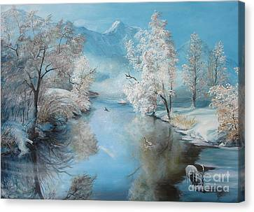 Canvas Print featuring the painting Quiet Ice  by Sorin Apostolescu