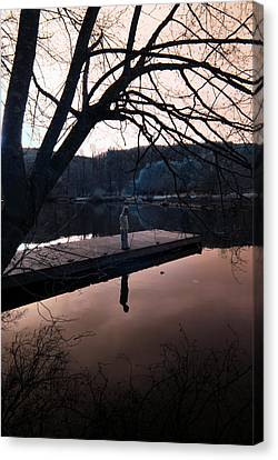 Canvas Print featuring the photograph Quiet Moments Reflecting by Rebecca Parker