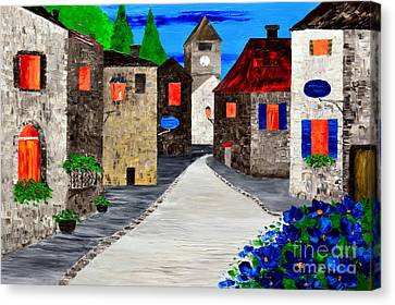 Quiet Old Town Canvas Print by Mariana Stauffer