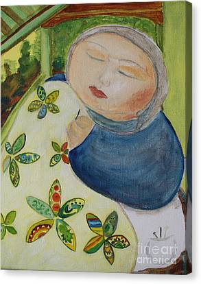 Quiet Quilter Canvas Print by Teresa Hutto