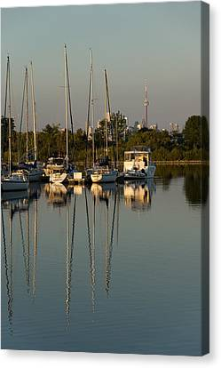 Quiet Summer Afternoon - Sailboats And Downtown Skyline Canvas Print by Georgia Mizuleva