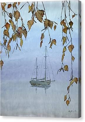 Autumn Leaf On Water Canvas Print - Quiet Water by Carolyn Doe