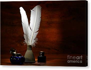 Quills And Inkwells Canvas Print by Olivier Le Queinec