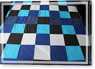 Twin Size Quilts Canvas Print - Quilt Blue Blocks by Barbara Griffin