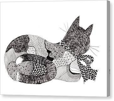 Quilt Cat With Bow Canvas Print by Lou Belcher