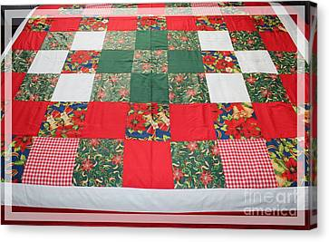 Twin Size Quilts Canvas Print - Quilt Christmas Blocks by Barbara Griffin