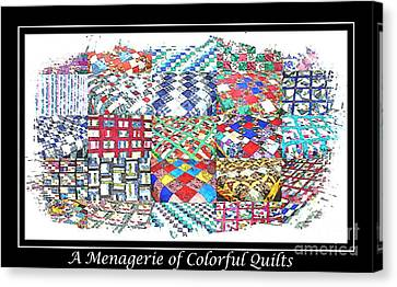 Homemade Quilts Canvas Print - Quilt Collage Illustration by Barbara Griffin