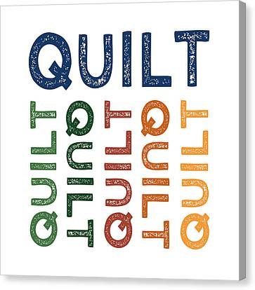 Quilter Canvas Print - Quilt Cute Colorful by Flo Karp