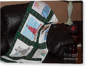 Quilt Newfoundland Tartan Green Posts Canvas Print by Barbara Griffin