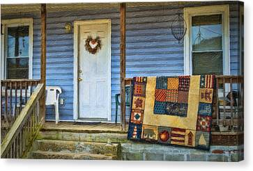 Quilt On The Front Porch Canvas Print by Kathy Jennings