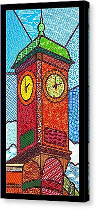 Quilted Clock Tower Canvas Print by Jim Harris