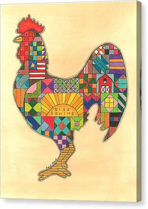 Quilted Rooster Canvas Print