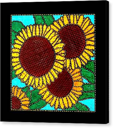 Quilted Sunflowers Canvas Print by Jim Harris