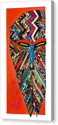 Canvas Print featuring the tapestry - textile Quilted Warrior by Apanaki Temitayo M