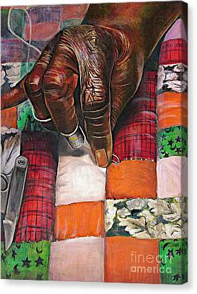 African American Artist Canvas Print - Quilting II by Curtis James