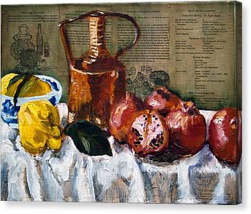 Quinces And Pomegranates Canvas Print