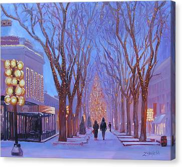 Street Lights Canvas Print - Quincy Market At Twilight by Laura Lee Zanghetti