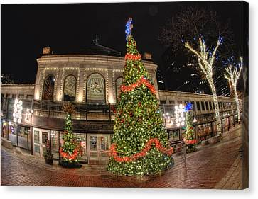 Quincy Market Holiday Lights Canvas Print by Joann Vitali