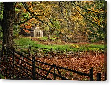 Maine Barns Canvas Print - Rustic Shack- New England Autumn  by Expressive Landscapes Fine Art Photography by Thom