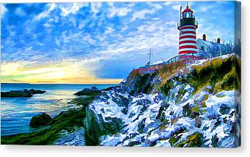Quoddy Head Lighthouse In Winter 3 Canvas Print by ABeautifulSky Photography