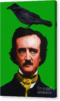Quoth The Raven Nevermore - Edgar Allan Poe - Painterly - Green - Standard Size Canvas Print by Wingsdomain Art and Photography