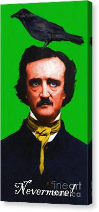 Quoth The Raven Nevermore - Edgar Allan Poe - Painterly - Green - With Text Canvas Print by Wingsdomain Art and Photography