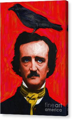 Quoth The Raven Nevermore - Edgar Allan Poe - Painterly - Red - Standard Size Canvas Print by Wingsdomain Art and Photography