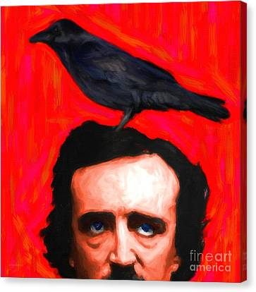 Quoth The Raven Nevermore - Edgar Allan Poe - Painterly - Square Canvas Print by Wingsdomain Art and Photography