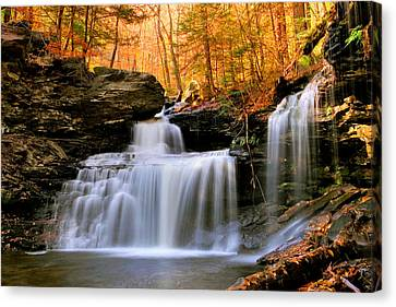 Canvas Print featuring the photograph R. B. Ricketts Falls Under Fall's Golden Halo by Gene Walls