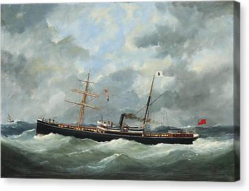 R. Bell And Co.s Steamship Bothal In A Heavy Swell Canvas Print by Edouard Adam