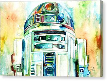 R2-d2 Watercolor Portrait Canvas Print by Fabrizio Cassetta