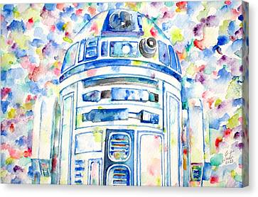 R2-d2 Watercolor Portrait.1 Canvas Print by Fabrizio Cassetta