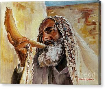 Rabbi Blowing Shofar Canvas Print